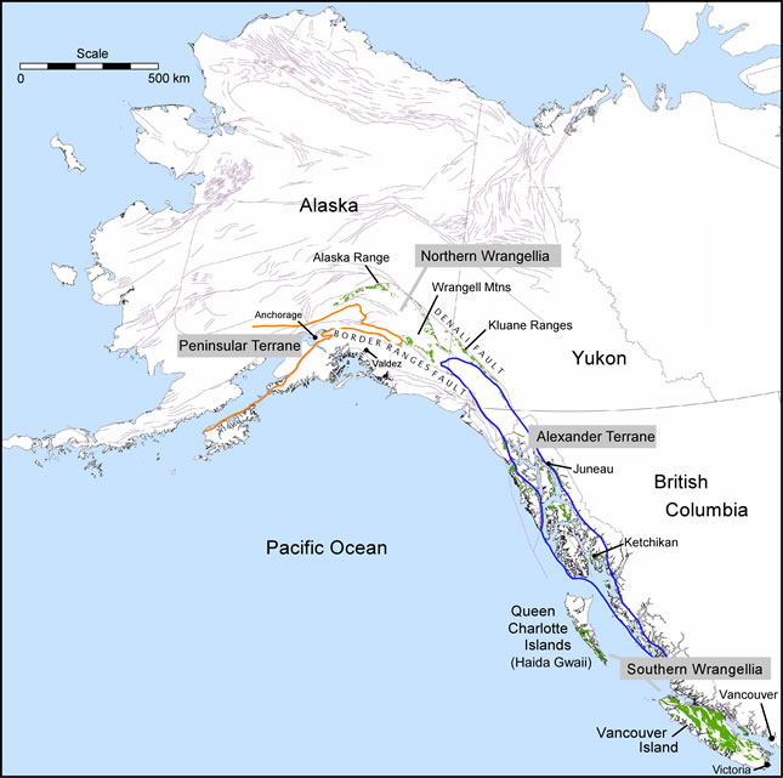 Map highlighting  Wrangellia flood basalts