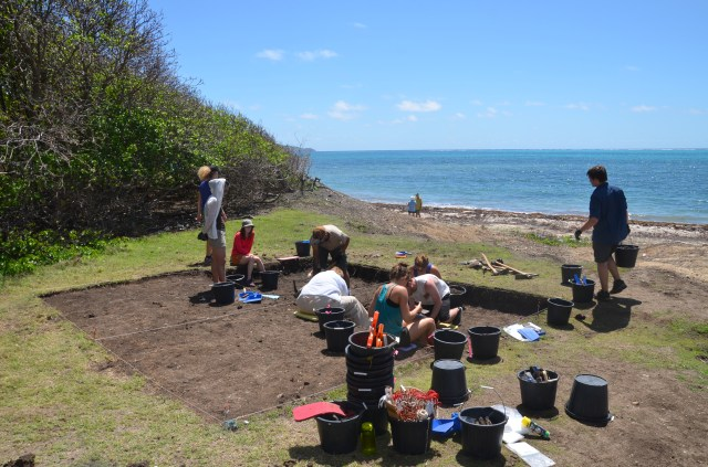 archeologists excavating with the sea in the background