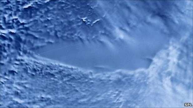 Radar image of Lake Vostok below the Antarctic ice.
