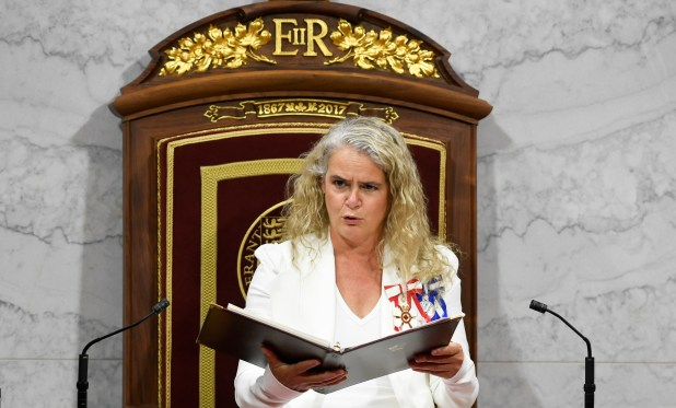 Gov. Gen. Julie Payette delivers the throne speech in the Senate chamber.
