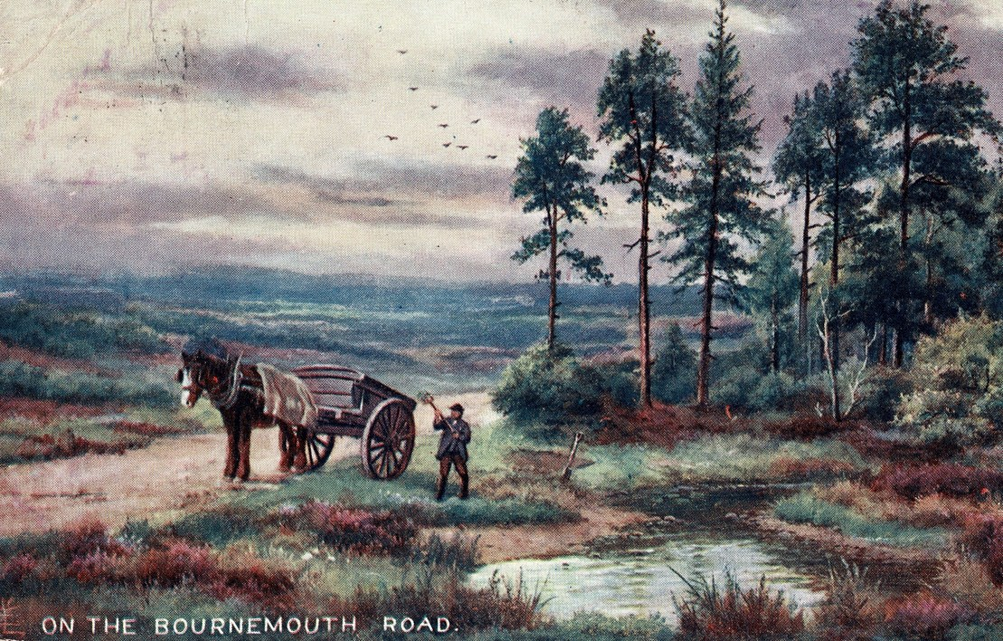 A man digs turg near a pond with a horse and cart nearby.
