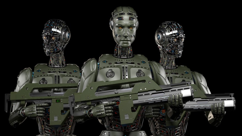 Group of heavily armed military robots