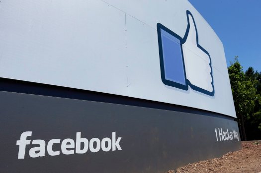 A photo of a sign at Facebook headquarters in Menlo Park, Calif.