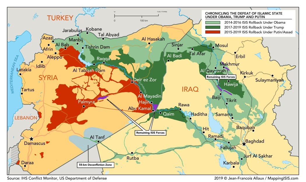 A map of territory taken back from the Islamic State group