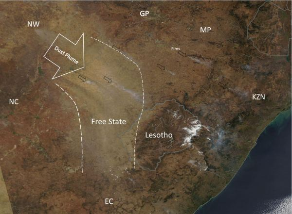 Map showing the source and direction of dust and smoke plumes.