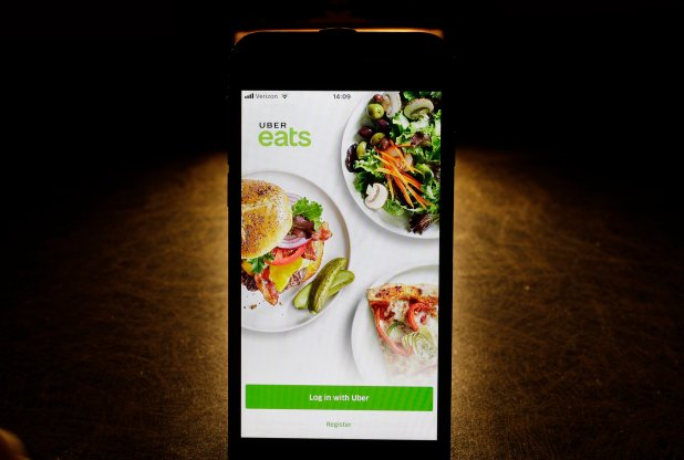 The Uber Eats app on a smartphone.
