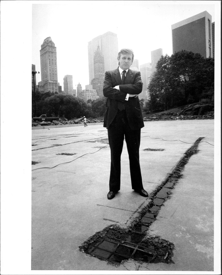 Black and white image of Trump with skyscrapers in the background