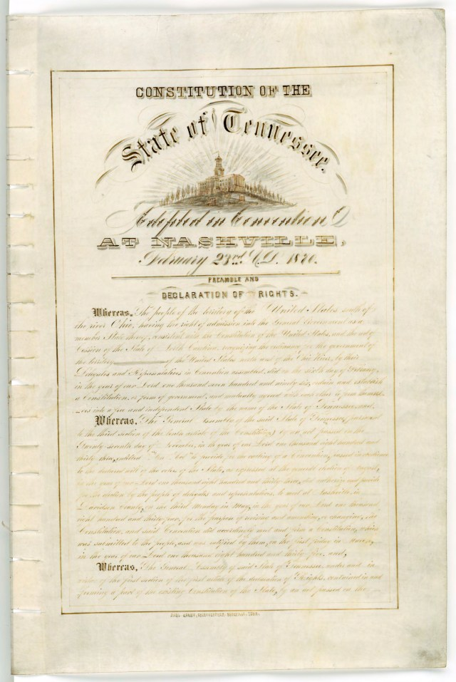 Page 1 of the 1870 Tennessee Constitution