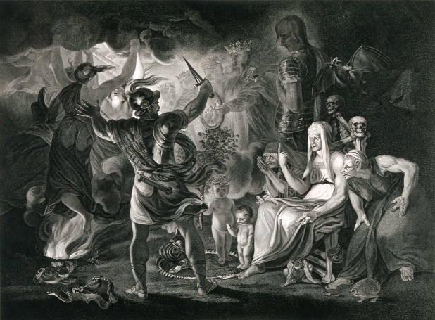 A black and white print of Macbeth, the three witches and Hecate in Shakespeare's Macbeth surrounded by eight kings in the shadows