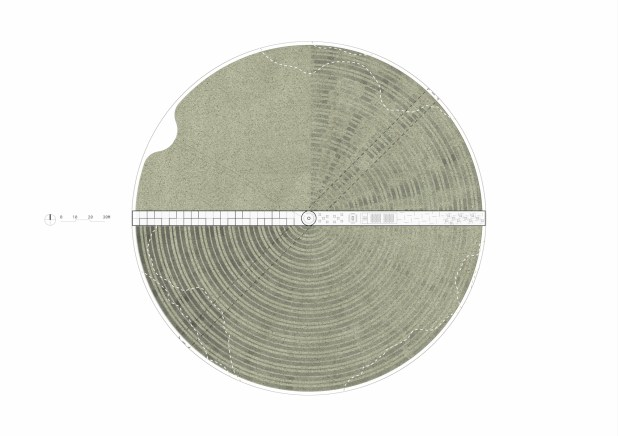 Abstract grey circle with lines.
