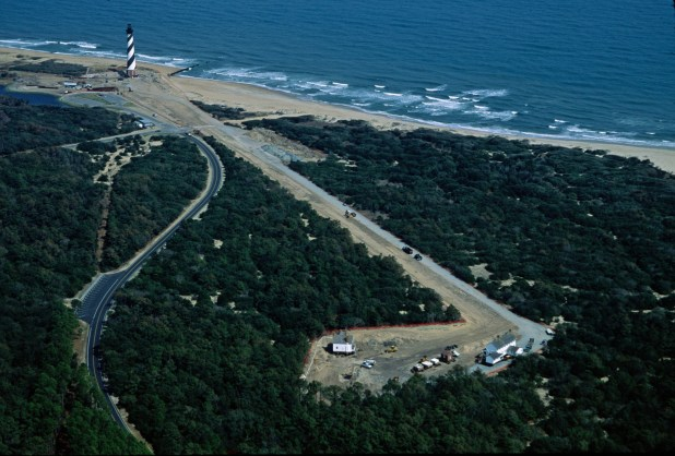 Photo of Cape Hatters Light and path to new site.