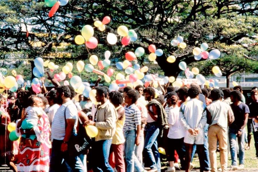 Des manifestants kanaks lors d'une manifestation