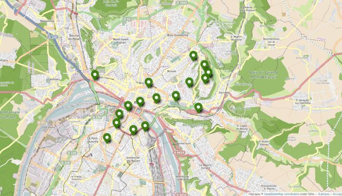 Carte des jardins partagés à Rouen.