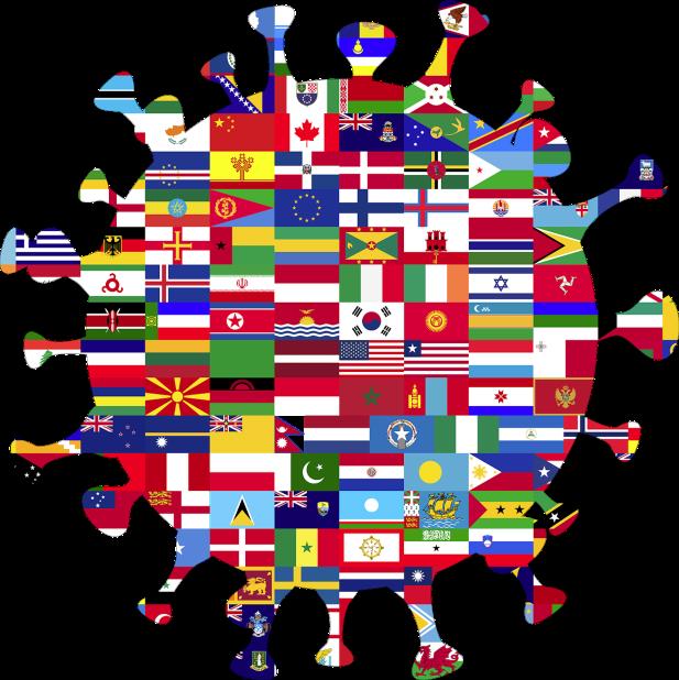 رسم توضيحي على شكل فيروس كورونا يتكون من أعلام دولية متداخلة.