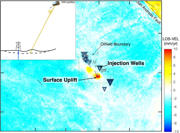 Satellite hot-spot image showing rising ground.