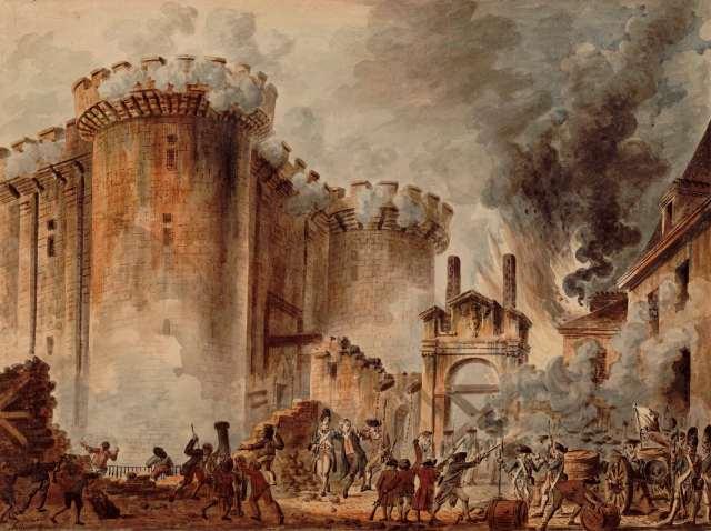 La pintura muestra hombres atacando un gran edificio con humo de fondo.