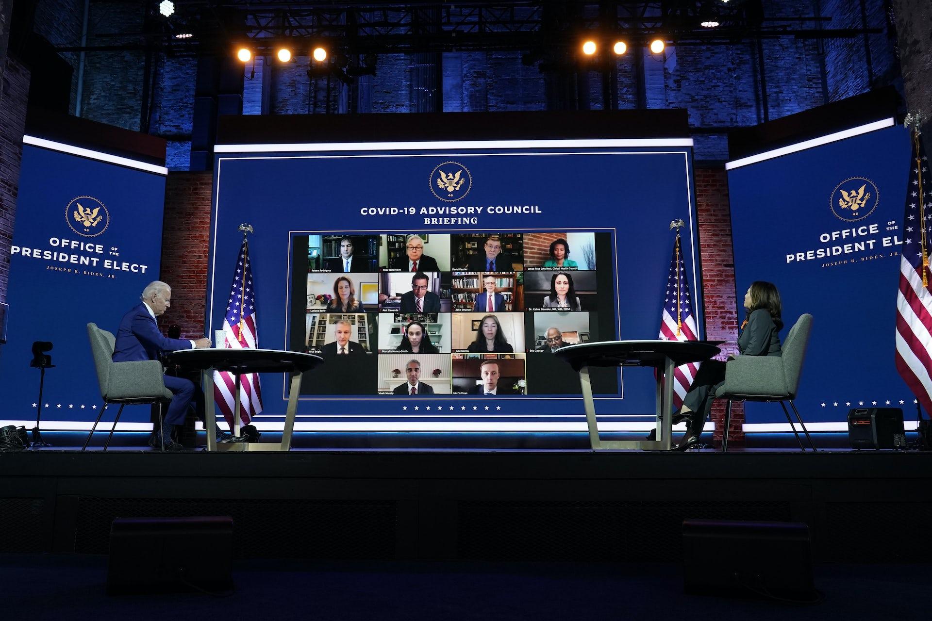 President-elect Joe Biden and Vice President-elect Kamala Harris in a meeting with Biden's COVID-19 advisory council.