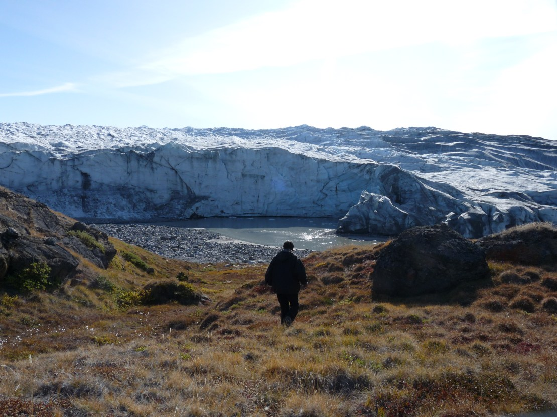 A man walks over grassy land with glacier in background