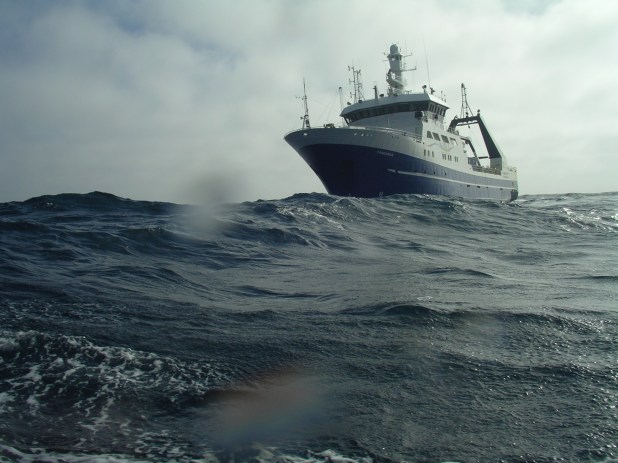 Ship crossing the Southern Ocean