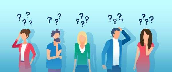 Illustration of confused people.