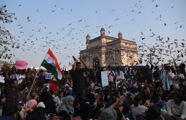 Student protest near the Gateway of India monument