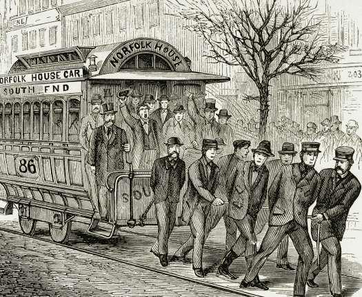 Engraving of men pulling a streetcar