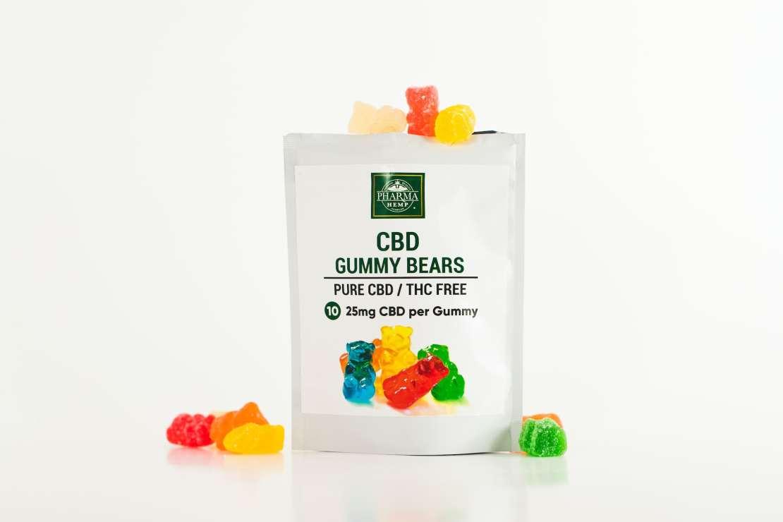 Packet of CBD gummy bears.