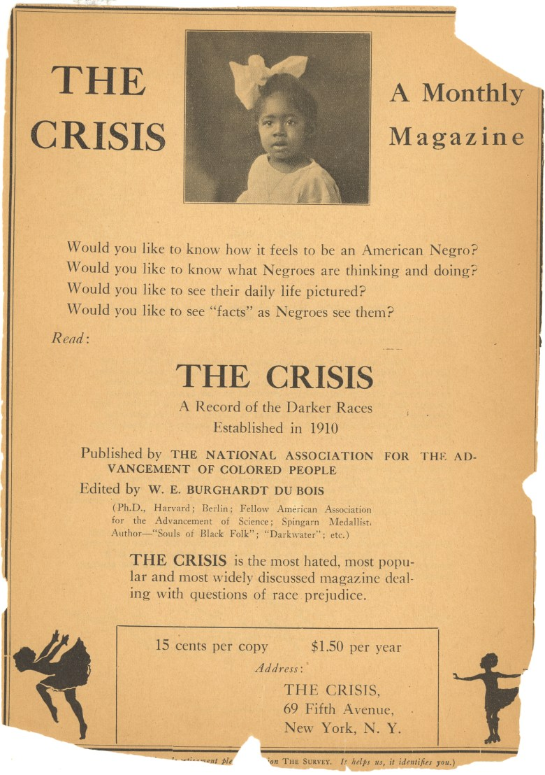 Yellowed print ad for The Crisis with photo of a young Black child and text.