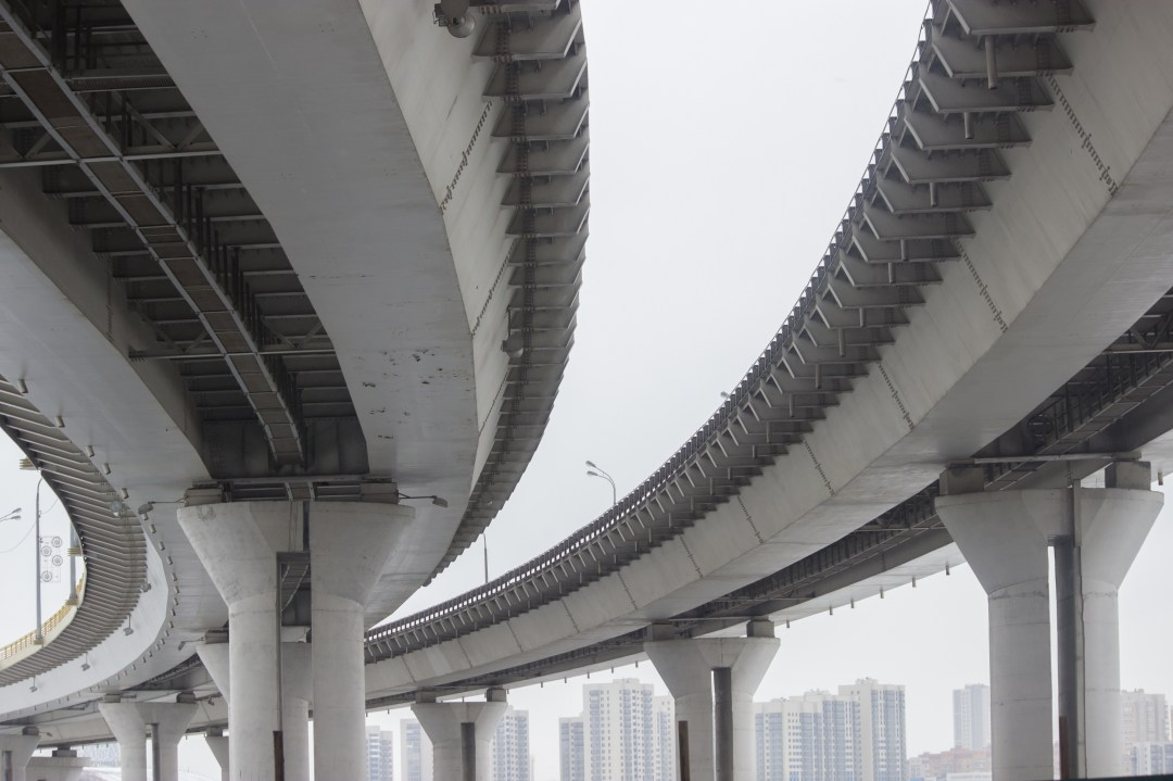 Human-made Materials now weigh as much as all Living Biomass A concrete highway bridge viewed from below.