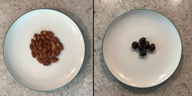 A plate of almonds next to a plate of a smaller quantity of chocolate-covered almonds