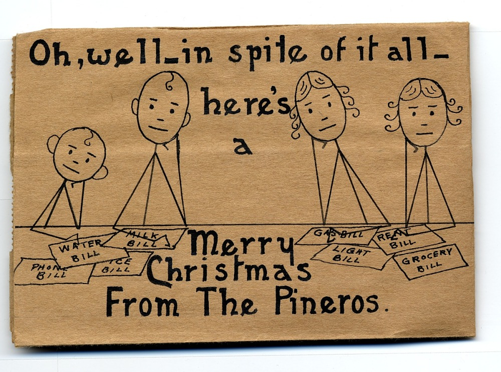 A card of four stick figures poring over bills that say merry xmas.