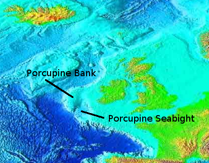 Seabed map of the north east Atlantic.