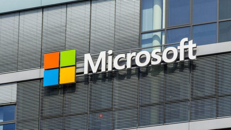 the Microsoft logo on the side of a building
