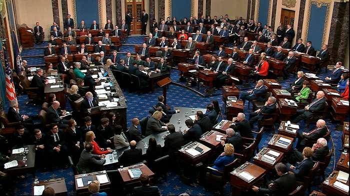 A scene of the Senate voting in Trump's impeachment trial in 2020