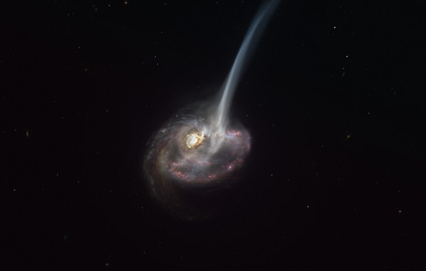Artist's impression of a galaxy with a tidal tail.