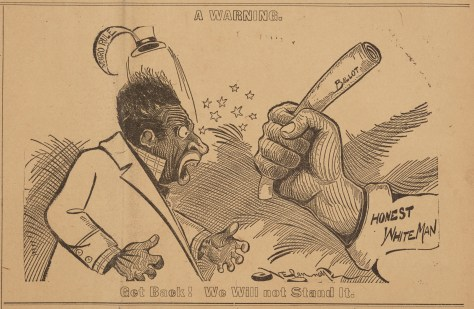 A white fist holding a bat, about to strike a Black man in an 1898 political cartoon.