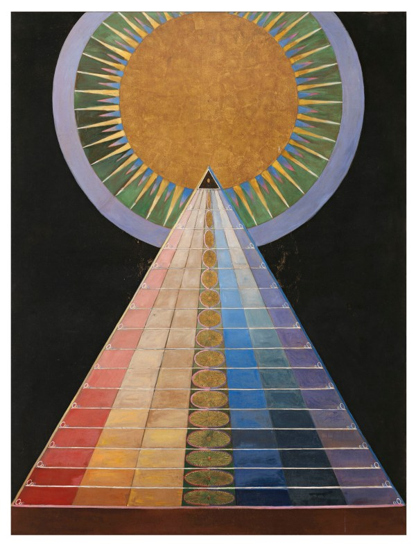 An abstract art work, evoking rainbow steps leading up to a golden sun.