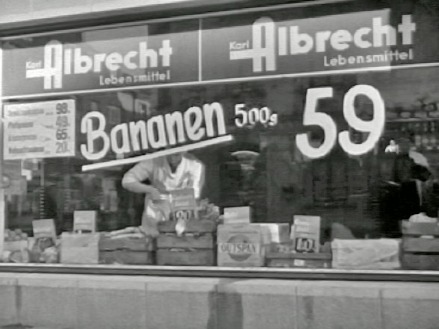 A Karl Albrecht store in Essen, 1958. Karl was the name of Anna Albrecht's husband.