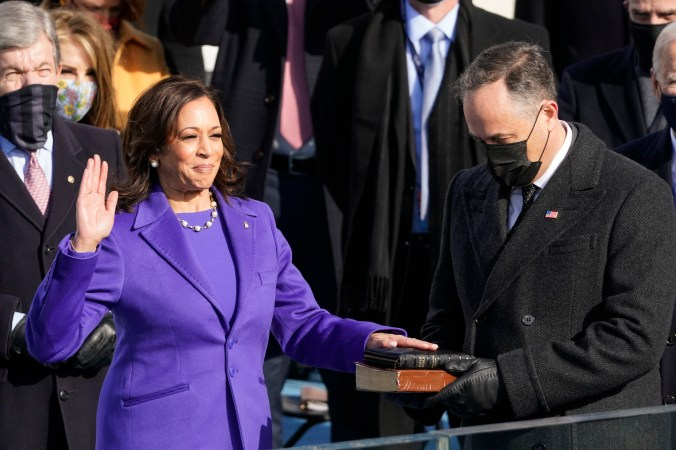Kamala Harris is sworn in on a Bible