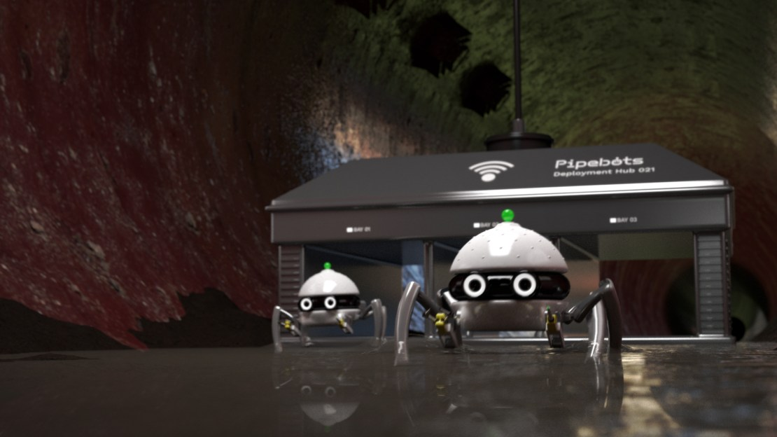 Two pipe bots in a sewer.