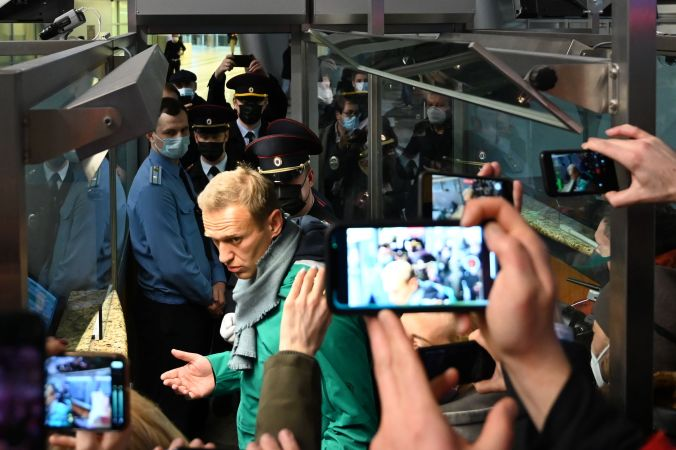 Navalny at passport control in Moscow on his return, just before he was arrested.