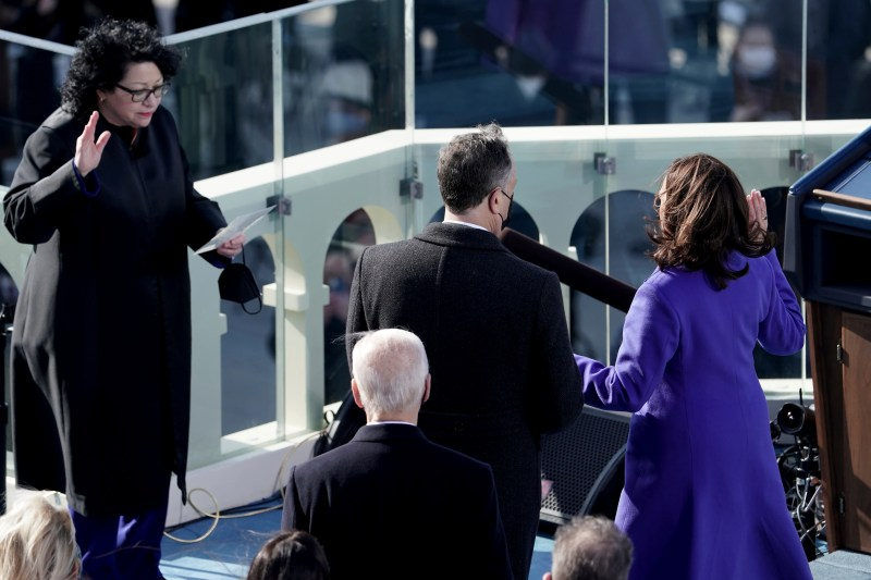 Kamala Harris takes the oath of office for vice president on Jan. 20.
