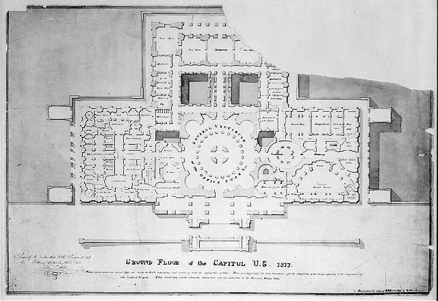 Black-and-white floor plan of the Capitol, a T-shaped building