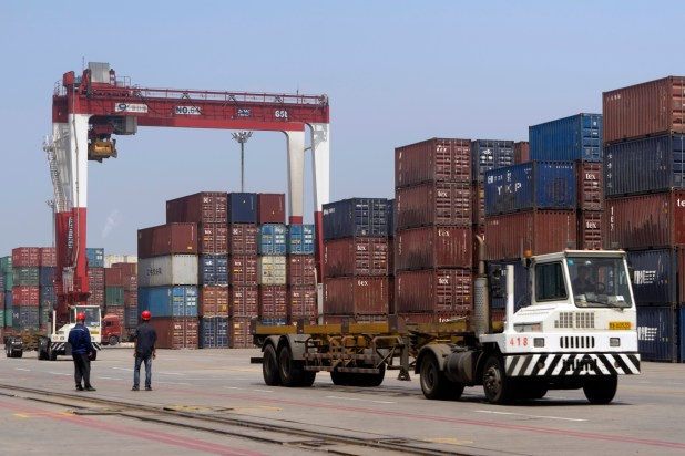 A port with shipping containers in China's Liaoning province