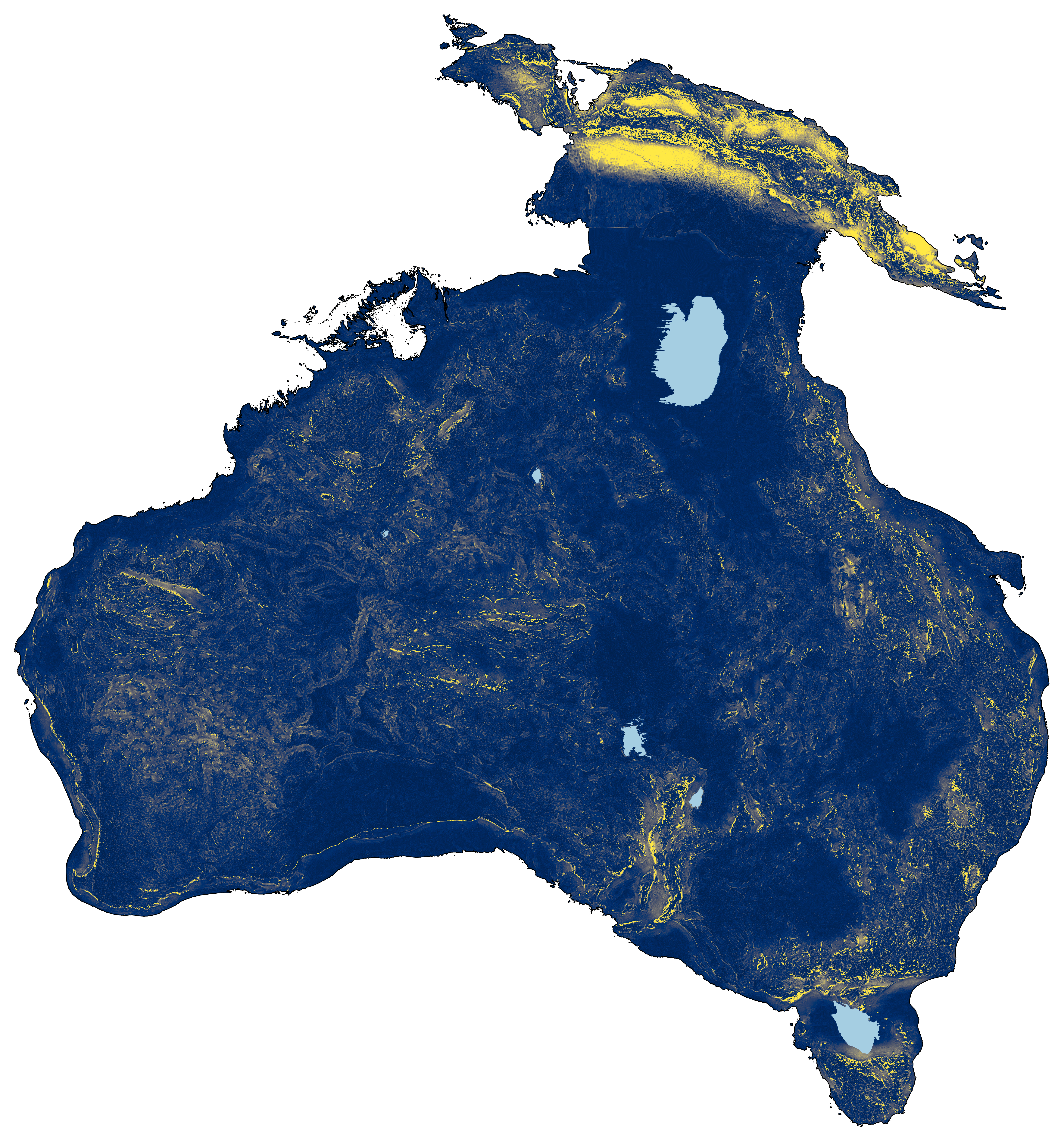 A map showing the landmass of Australia connected to New Guinea and Tasmania