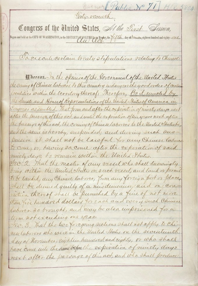 A yellowed copy of the handwritten first page of the 1882 Chinese Exclusion Act