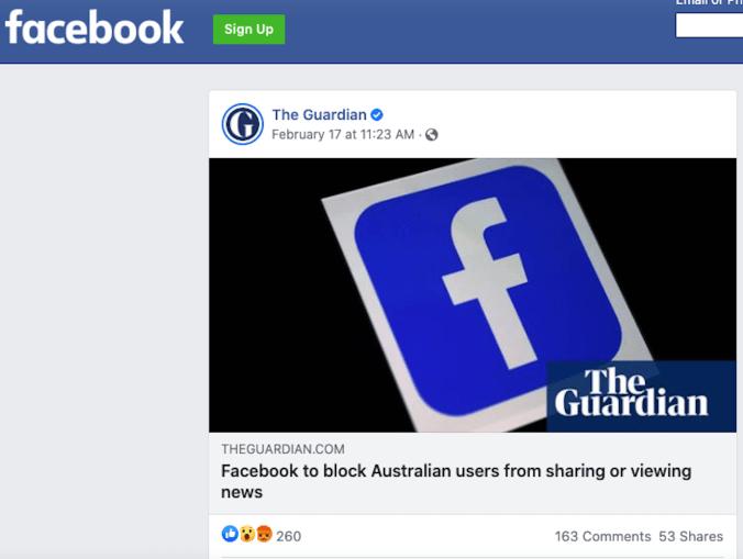 A Facebook news post