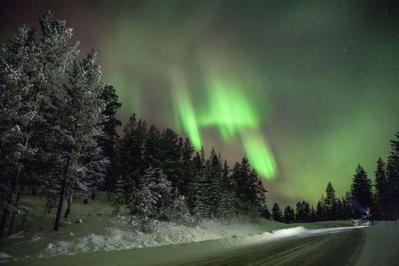Sheets of green light in a Finnish night sky.