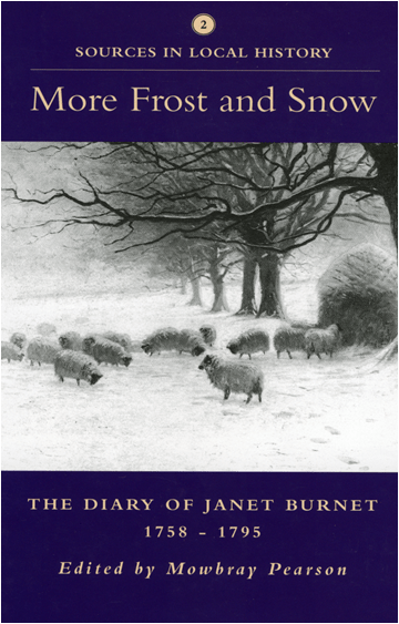 The book cover of the 18th-century farming diary of Janet Burnet showing sheep in the snow.
