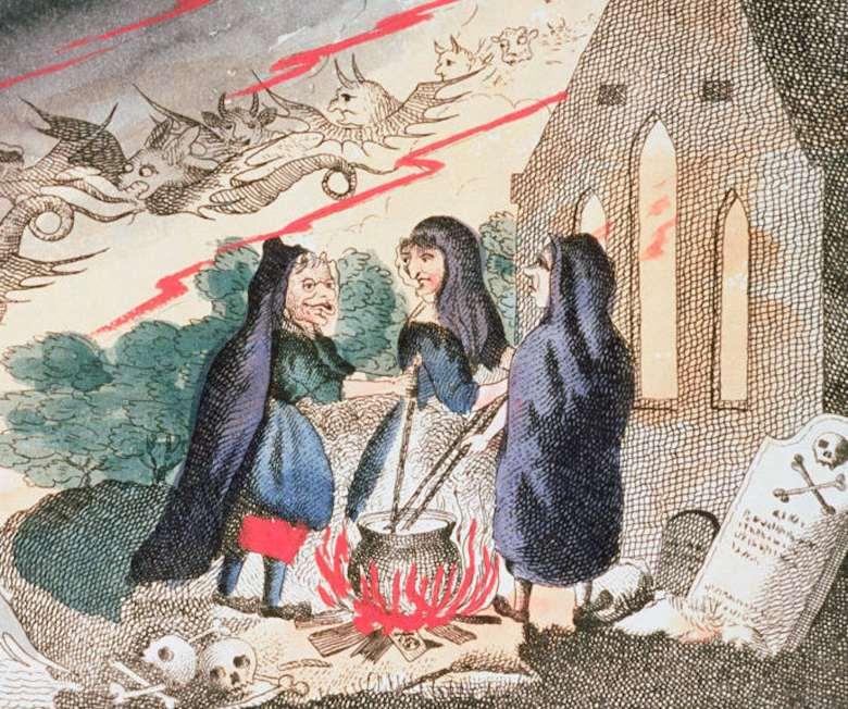 Three witches stand around a cauldron.